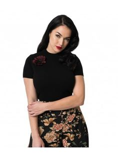 bfb639c3fb4ca Women s Black Knit   Floral Pin Short Sleeve Bowery Sweater. Black Knit