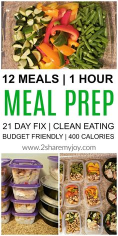 Meal Prep: 12 healthy lunches in 1 hour. Make these healthy clean eating meal prep recipes in 1 hour and have lunch ready for the week.