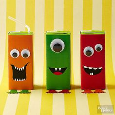 Don't be scared -- these monsters won't bite. Print out our monster patterns and wrap around juice boxes. Cut out feet and tape to bottom of box. Secure googly eyes as desired with glue. /
