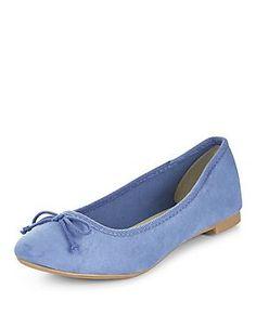 Pale Blue Suedette Ballet Pumps  | New Look