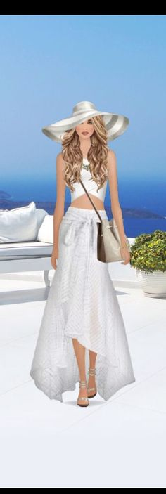 Top Look for the Santorini Weekend event in #covetfashion styled by MKgrl12. Wearing a #Zimmermann skirt, Donna Mizani crop top and carrying a Halston Heritage bucket bag.