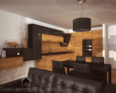 The kitchen consists mostly of wooden cabinets. The fridge's door however, is black and shiny and so is the vent system. Living Room And Kitchen Design, Modern Kitchen Design, Living Room Designs, Kitchen Decor, Kitchen Designs, White Kitchen Interior, Interior Design Kitchen, Interior Modern, Vintage Pantry
