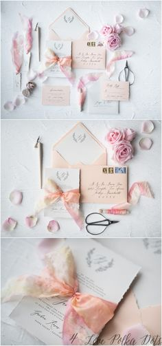 Wedding Trends Elegant blush wedding invitations set with modern calligraphy printing and silk ribbon Make Your Own Wedding Invitations, Wedding Invitation Inspiration, Handmade Wedding Invitations, Wedding Invitation Sets, Wedding Inspiration, Invitation Ideas, 2018 Wedding Trends, Trends 2018, Wedding Paper