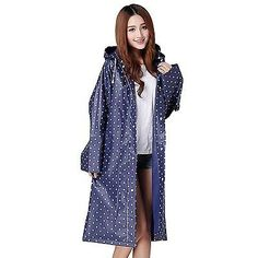 Womens Girls Portable Fashion Dots Hooded Long Rain Jacket Coat Raincoat Blue, #RaincoatsForWomenPolkaDots