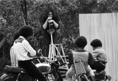 John Olson sets up to shoot the Jackson Five in their backyard in 1970