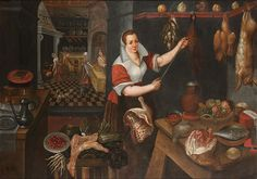 Circle of Jan Baptist Saive (II)? A kitchen interior with a young maid hanging various meats, figures preparing food beyond. Date1563