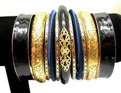 Metallic Women Fashion Bracelets and Bangles. Exaggerated Wide Enamel Multi Layers Bracelet Set. New Indian Jewelry. $6.80