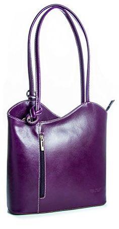 http://ift.tt/1IU452f BHBS Damen Stilvolle Schultertasche oder Rucksack aus echtem itelienischem Leder 31 x 28 x 8 cm (B x H X T)  Purple &bimopi#