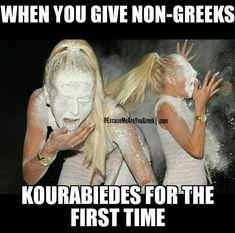 A bit of icing sugar dusted delicately on top! Funny Greek Quotes, Greek Memes, Funny Animal Memes, Funny Memes, Jokes, Western Philosophy, Arabic Memes, Greek Girl, Greek Language