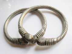 Pair of Yemeni Armlets or Anklets -  Vintage Bedouin Jewelry - Tribal Bracelets by Anteeka on Etsy