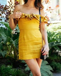 $240 Say Hello To The Perfect Yellow Dress From Reformation To Brighten Up Your Summer Wardrobe Off The Shoulder Ruffle Detail Clinched Waist Mini Dress