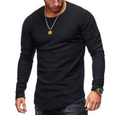 56b08f315ed Men s Striped Fold Raglan Long-sleeved T-shirt