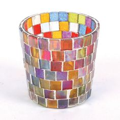 Colourful Fair Trade Iron and Glass Mosaic Trinket or Candle Dish NEW Plate