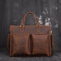 Men Leather Briefcase Bag Vintage Handbag Shoulder Bag For Men Mens Leather Satchel, Leather Briefcase, Leather Bags, Brown Leather, Vintage Bags, Vintage Handbags, Vintage Men, Messenger Bag Men, Briefcases