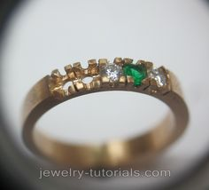 The emphasis on making a 5 stone eternity ring is on planning the layout of the gems. For uniformity, accurate sawing and drilling is important in making this ring. jewelry training / online jewelry classes / metalsmithing / learning jewellery making / emerald setting / emerald ring making