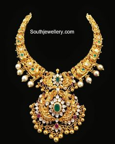 Peacock Nakshi Necklace with Detachable Pendant - Indian Jewellery Designs Gold Jewellery Design, Gold Jewelry, Jewelery, Designer Jewellery, Gold Necklaces, Stylish Jewelry, Fashion Jewelry, Gold Fashion, Fashion Necklace