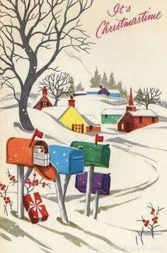 Vintage Christmas Card - colorful mailboxes in snowy country road Vintage Christmas Images, Old Christmas, Christmas Scenes, Merry Little Christmas, Retro Christmas, Christmas Pictures, Christmas Wreaths, Christmas Decorations, Christmas Ornaments