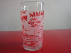 State of Maine Frosted Souvenir Glass