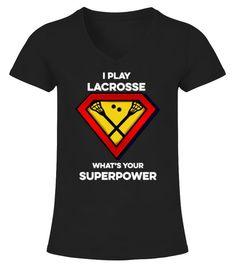 b39507624 LACROSSE SUPERPOWER - V-neck T-Shirt Woman #Shirts #HandballTshirt  Superpower,