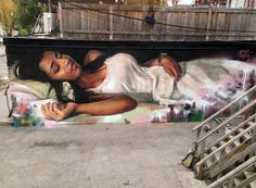 Astonishing mural created in 2014 by Young Jarus in Toronto. Street Wall Art, Graffiti Wall Art, Murals Street Art, Street Art Graffiti, Banksy, Street Installation, Amazing Street Art, Awesome Art, Art Graphique