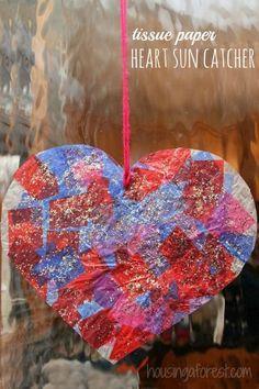 Tissue Paper Heart Sun Catcher ~ Preschool Valentines Crafts