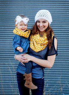 Mommy and Me Matching Infinity Scarf Mustard Yellow Polka Dot Adult Baby Toddler Child Scarf