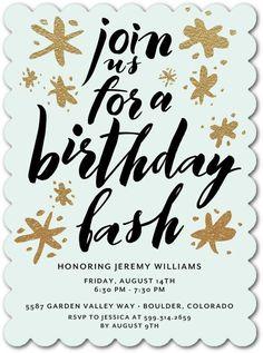Splashy Spirit - Adult Birthday Party Invitations in Aloe or Chenille 75th Birthday, Adult Birthday Party, Mom Birthday, Birthday Celebration, Birthday Ideas, Unique Invitations, Invites, Time To Celebrate, Custom Cards