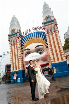 Wedding at Sydney's Luna Park! Older Couple Poses, Older Couples, Couple Posing, Cool Last Names, Luna Park Sydney, Land Of Oz, Wedding Photos, Wedding Ideas, Sydney Wedding