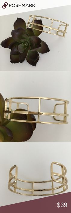 NWOT Goldtone Architectural Cuff Bracelet NWOT Clean, chic, modern.  Great statement piece.  Easily moldable to varying wrist sizes. Found in an awesome little boutique Amsterdam. Jewelry Bracelets