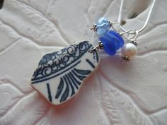 Sea Glass Necklace Blue Beach Glass Jewelry by TheMysticMermaid