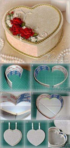 Шкатулка в форме сердца из бобин от скотча | Самоделкино