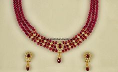Adorable triple stringed ruby beads neck piece with small gold bits and few diamonds. This is a versatile piece that will be perfect for all ages from kids to elders. Approximate gold weight : 19gms Approximate Ruby weight : 176ct Approximate Diamond Weight : 3.46ct *Availble in CZs too - See more at: http://www.latestindianjewellery.com/2013/10/ruby-beads-necklace.html#sthash.RCnHz3bI.dpuf