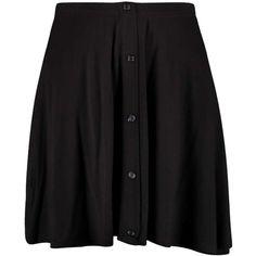 Boohoo Penny 90's Grunge Button Front Skater Skirt ($8) ❤ liked on Polyvore featuring skirts, bottoms, faldas, women skirts, rayon skirt, circle skirt, skater skirt and knee length circle skirt