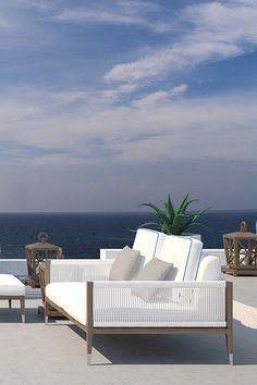 white and taupe patio terrace furniture and accessories || Cotton Beach Club, Ibiza beach restaurant - White Ibiza