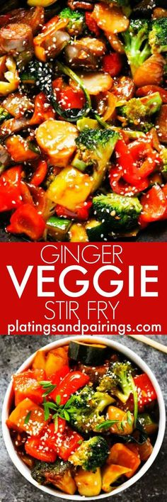 This Ginger Veggie Stir Fry is bursting with lots of fresh vegetables and coated with a spicy sauce flavored with garlic and ginger. Plus, it comes together in under 30 minutes! | http://platingsandpairings.com