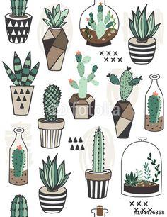 Vecteur : Seamless pattern with succulents in terrarium.