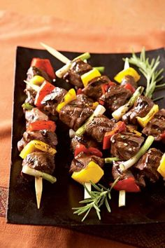 Indian Lamb Kebabs- I did 1 full yellow pepper and mushrooms, next time I'm going to add more peppers, the sweetness complimented the meat beautifully.