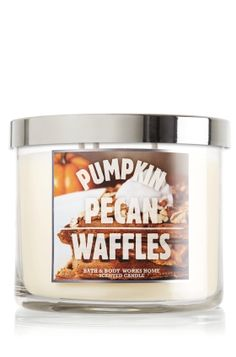 Pumpkin Pecan Waffles - Bath and Body Works candle- the best smell in the world! I've gotta go back and buy one! Now, looking up a recipe for pumpkin pecan waffles Bath Candles, 3 Wick Candles, Scented Candles, Yankee Candles, Mini Candles, Bath N Body Works, Bath And Body, Pumpkin Waffles, Home Scents