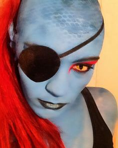 Undyne makeup by moonfairy-luna. Nice to see somebody being super accurate and using a bald cap. Undyne Cosplay, Bald Cap, Monster Makeup, Toby Fox, Undertale Fanart, Cosplay Makeup, Cosplay Girls, Body Painting, Horror