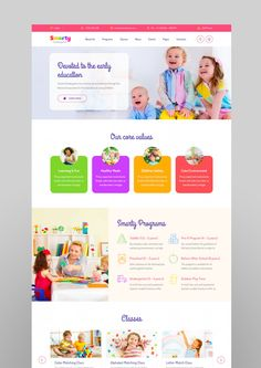 Buy Smarty - School Kindergarten WordPress theme by StylemixThemes on ThemeForest. School WordPress theme – Smarty Smarty School WordPress theme has been specially designed with your learning communi. Landing Page Inspiration, Website Design Inspiration, Website Design Layout, Web Layout, Web Design School, Pag Web, Kids Sites, Kids Web, Kids Daycare