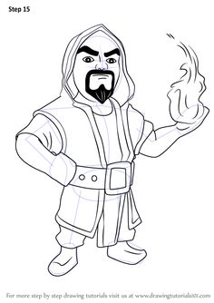 Learn How to Draw Wizard from Clash of the Clans (Clash of the Clans) Step by Step : Drawing Tutorials