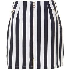 Stripe Zip Detail Bodycon Skirt (46 RON) ❤ liked on Polyvore featuring skirts, bottoms, blue striped skirt, stripe skirt, body con skirt, bodycon skirt and striped skirts