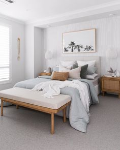 Gorgeous simple bedroom set up that's cool light and airy! Small Room Bedroom, Home Bedroom, Master Bedroom, Bedroom Decor, Bedroom Ideas, Bedroom Makeovers, Scandi Bedroom, Bedroom Signs, Bedroom Inspo