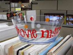 vinyl on acrylic bowl-fill with popcorn and movie gc