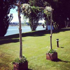 Rustic wedding arch. #weddingarch #archway #wedding