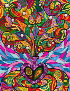 Purple Bottle by ~Liquid-Mushroom on deviantART Zentangle Patterns, Zentangles, Zen Doodle, Doodle Art, Arte Hippy, Backgrounds Wallpapers, Psy Art, Doodle Designs, Hippie Art