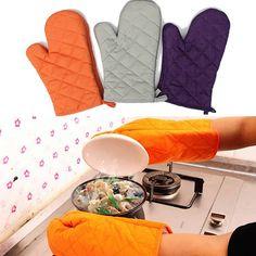 Description: 2Pcs Kitchen Heat Resistant Cotton Glove Microwave Oven Pot Holder Baking BBQ Cooking...