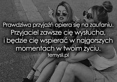 TeMysli.pl - Inspirujące myśli, cytaty, demotywatory, teksty, ekartki, sentencje Saving Quotes, Friendship, Best Friends, Sad, Bad Girls, Words, Life, Quotes, Beat Friends