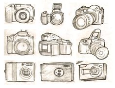 camera sketches...maybe a bright red heart in the lens, with a curvy strap...