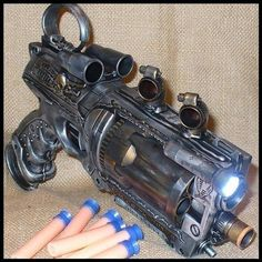Incredible steampunk nerf gun.
